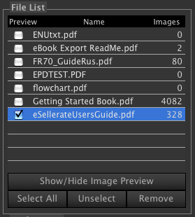 PDF Image Extractor file list screenshot.